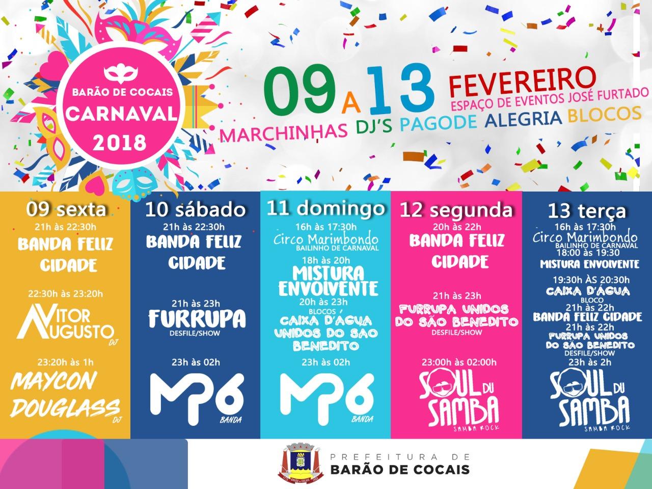 Shows e desfiles de blocos garantem a alegria do Carnaval em Barão de Cocais