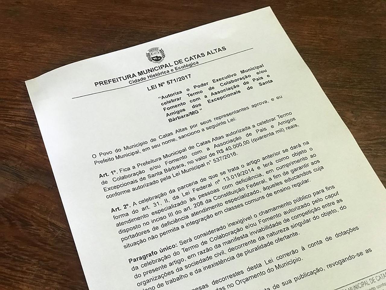 Sancionada lei que autoriza prefeitura de Catas Altas a repassar recurso à Apae