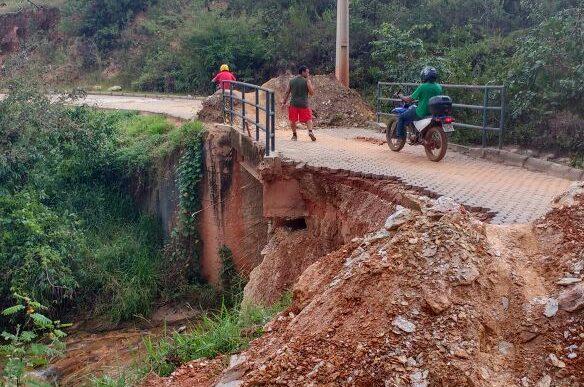 Em Conceição do Mato Dentro, moradores cobram agilidade da Prefeitura no reparo de pontes danificadas pela chuva