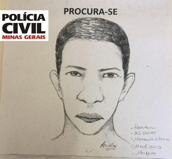 PC divulga retrato falado de suspeito de estuprar universitária em Monlevade