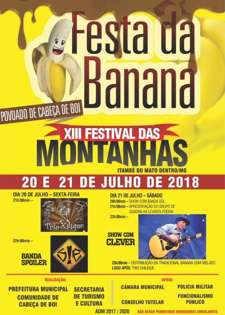 Cabeça de Boi recebe Festa da Banana nos dias 20 e 21 de julho