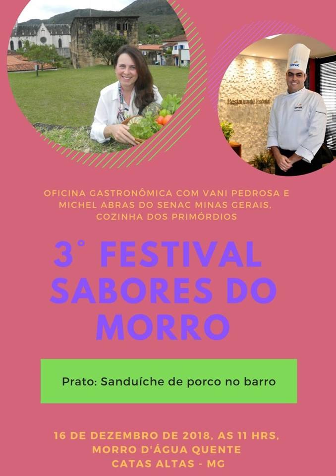 Oficinas gastronômicas gratuitas são atração do 3º Festival Sabores do Morro em Catas Altas
