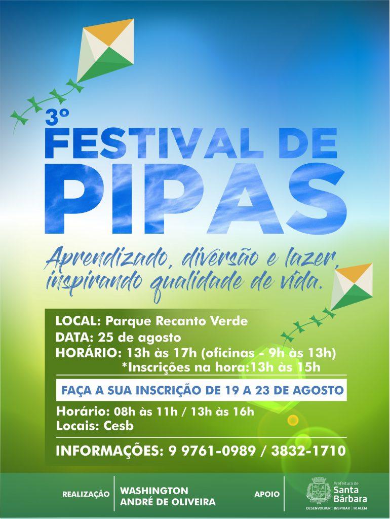 Santa Bárbara realiza 3º Festival de Pipas em agosto