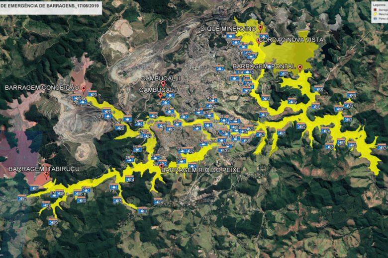 Mapa mostra áreas que serão inundadas em caso de rompimento de barragem em Itabira