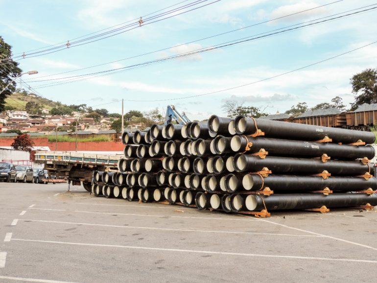 Material para construir anel hidráulico chega em Itabira