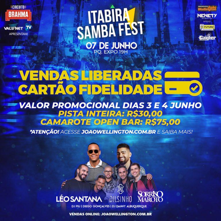 Itabira Samba Fest: Cartão fidelidade garante ingressos mais baratos hoje e amanhã