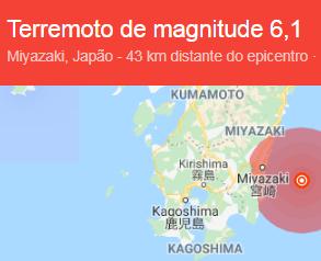 Terremoto de magnitude 6,3 é registrado no Japão