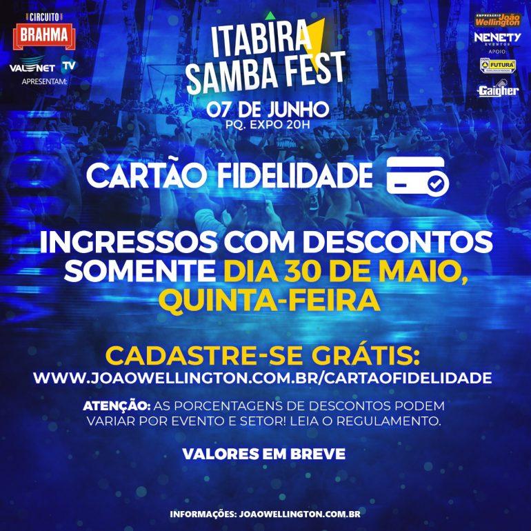Cartão fidelidade garante descontos exclusivos no Itabira Samba Fest