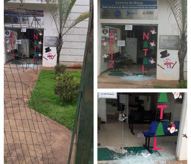 Farmácia municipal é alvo de vandalismo em Barão de Cocais