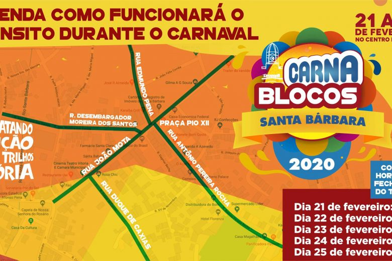 Trânsito en Santa Bárbara terá alterações durante o Carnaval
