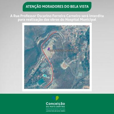 Rua do bairro Bela Vista ficará fechada por quatro meses em Conceição