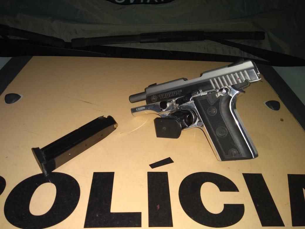Polícia Rodoviária apreende pistola calibre 380 na MG-129