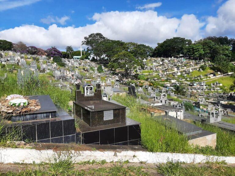 Túmulos são tomados por matagal no Cemitério da Paz