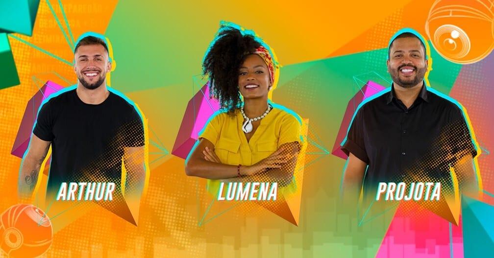 Arthur, Lumena e Projota estão no quinto paredão do BBB21