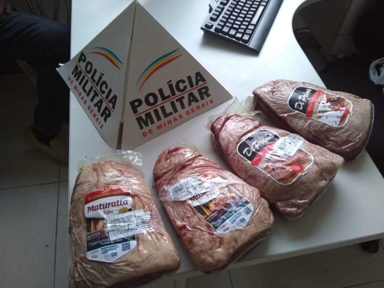 Homem rouba quatro picanhas em supermercado e acaba preso em Itabira