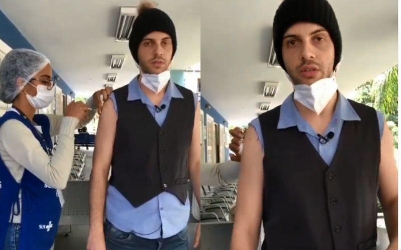 """Comediante viraliza ao gritar """"Fora SUS"""" em vacinação; veja vídeo"""